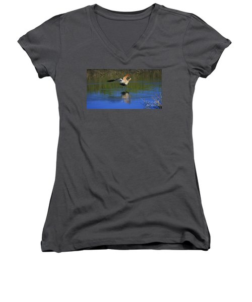 Women's V-Neck T-Shirt (Junior Cut) featuring the photograph  Courtship Cross by John F Tsumas