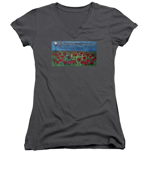 Love For Flanders Fields Poppies Women's V-Neck