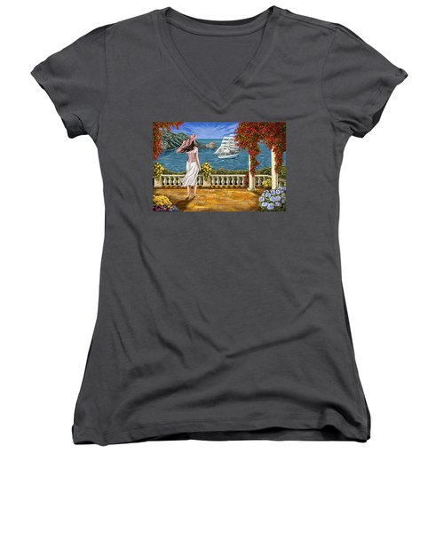 Women's V-Neck T-Shirt (Junior Cut) featuring the painting Love Is Coming Home by Tim Gilliland