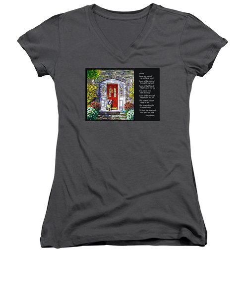 Love Women's V-Neck T-Shirt (Junior Cut) by Ron Haist