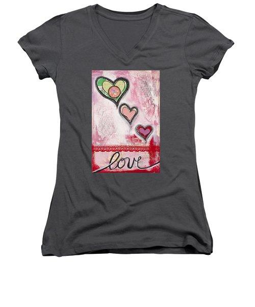Women's V-Neck T-Shirt (Junior Cut) featuring the mixed media Love  by Stanka Vukelic