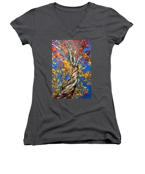 Women's V-Neck T-Shirt (Junior Cut) featuring the painting Love That Reaches by Meaghan Troup