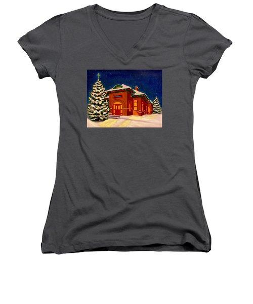 Loveland Depot At Christmas Women's V-Neck (Athletic Fit)