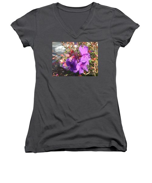 Women's V-Neck T-Shirt (Junior Cut) featuring the photograph Lovely Purple Flower by Jasna Gopic