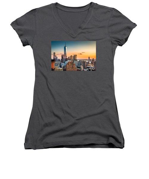 Lower Manhattan At Sunset Women's V-Neck