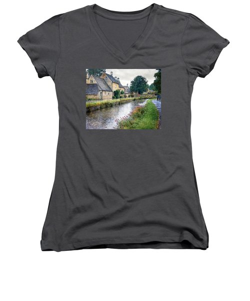 Lower Slaughter Women's V-Neck T-Shirt (Junior Cut) by William Beuther