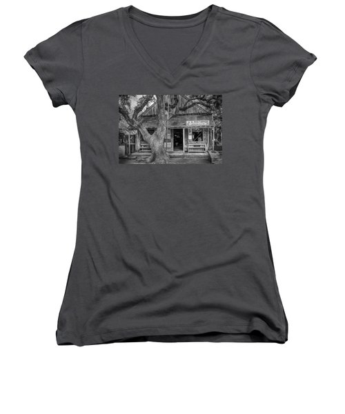 Luckenbach 2 Black And White Women's V-Neck (Athletic Fit)