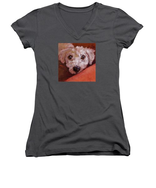 Women's V-Neck T-Shirt (Junior Cut) featuring the painting Lucky by Pattie Wall