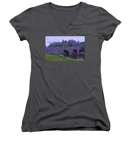 Women's V-Neck T-Shirt (Junior Cut) featuring the photograph Ludlow Castle by John Williams