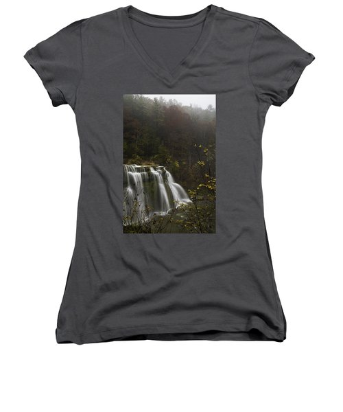 Ludlowville Falls In Autumn I Women's V-Neck (Athletic Fit)