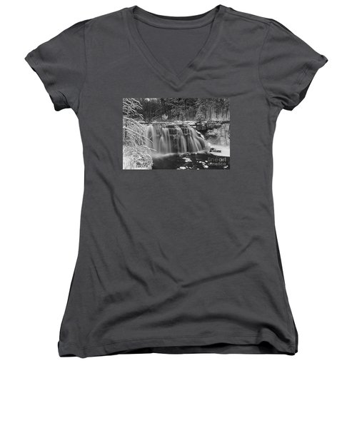 Ludlowville Falls In Winter I Women's V-Neck (Athletic Fit)