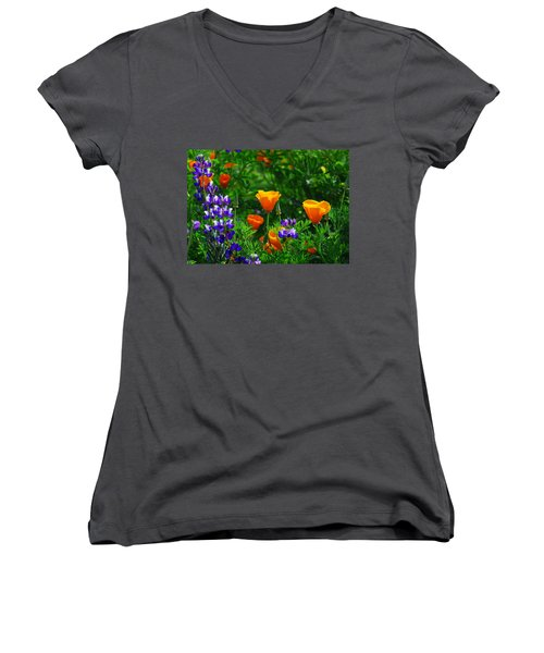 Lupines And Poppies Women's V-Neck T-Shirt (Junior Cut) by Lynn Bauer