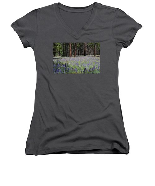 Women's V-Neck T-Shirt (Junior Cut) featuring the photograph Lupines In Yosemite Valley by Lynn Bauer