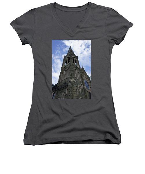 Women's V-Neck T-Shirt (Junior Cut) featuring the photograph Luray Chapel by Laurie Perry