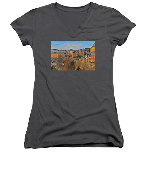 Luxembourg Fortification Women's V-Neck (Athletic Fit)