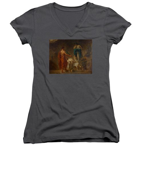 Lycurgus Consulting The Pythia Women's V-Neck T-Shirt (Junior Cut) by Eugene Delacroix
