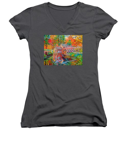 Mabry Mill In Fall Women's V-Neck