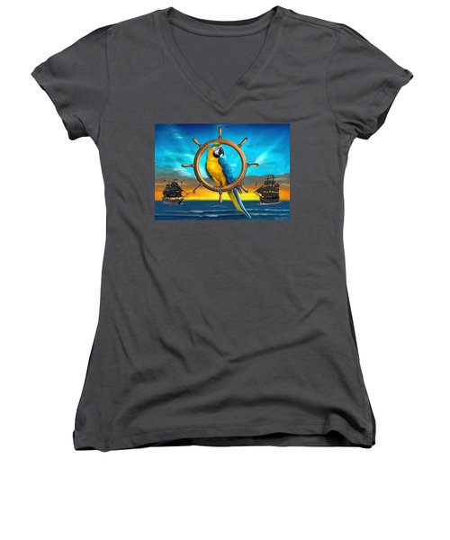 Macaw Pirate Parrot Women's V-Neck T-Shirt (Junior Cut) by Glenn Holbrook