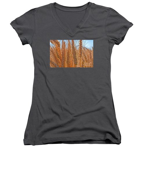 Macro Of Wheat Art Prints Women's V-Neck T-Shirt (Junior Cut) by Valerie Garner