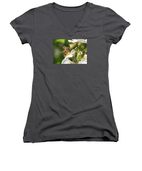 Mad Honeybee Women's V-Neck T-Shirt (Junior Cut) by Lucinda VanVleck