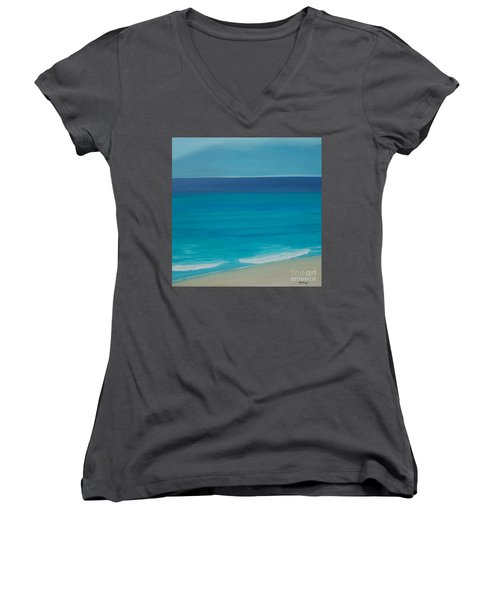 Women's V-Neck T-Shirt (Junior Cut) featuring the painting Madagascar by Mini Arora