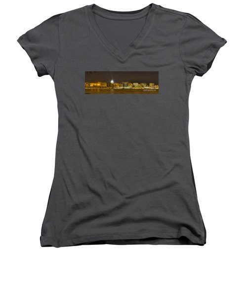 Madison - Wisconsin City  Panorama - No Fireworks Women's V-Neck T-Shirt