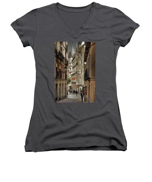 Madrid Streets Women's V-Neck T-Shirt (Junior Cut) by Joan Carroll