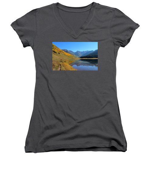 Magical View Women's V-Neck T-Shirt (Junior Cut) by Fiona Kennard