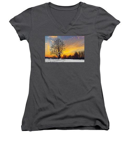 Magical Winter Sunset Women's V-Neck