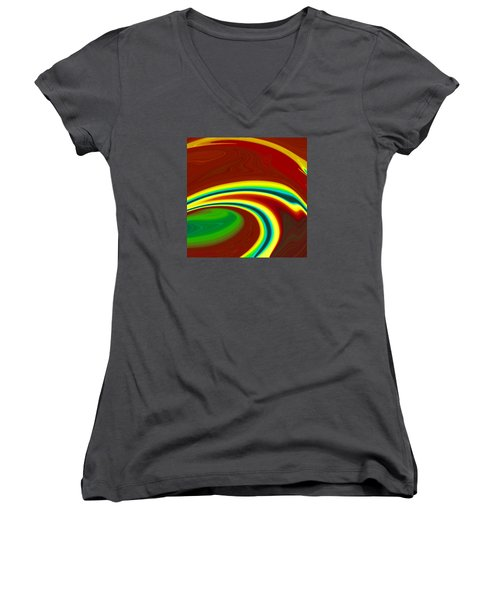 Women's V-Neck T-Shirt (Junior Cut) featuring the painting Magma  C2014 by Paul Ashby
