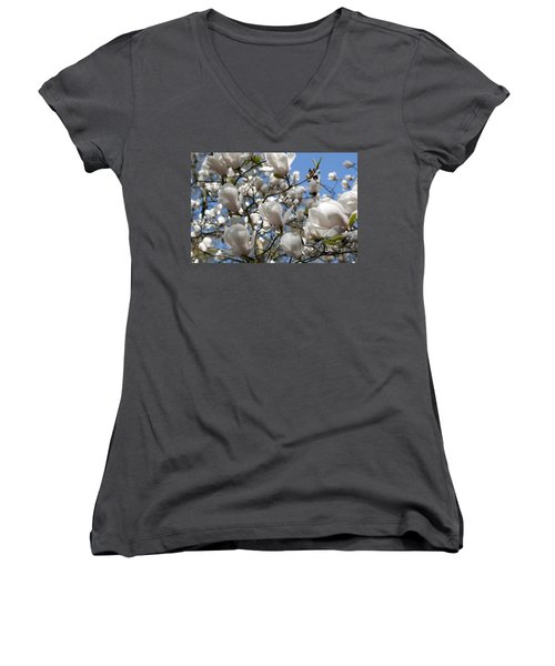 Women's V-Neck T-Shirt (Junior Cut) featuring the photograph Magnolia by Lana Enderle