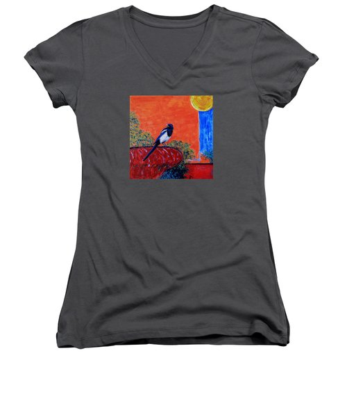 Magpie Singing At The Bath Women's V-Neck T-Shirt (Junior Cut) by Xueling Zou