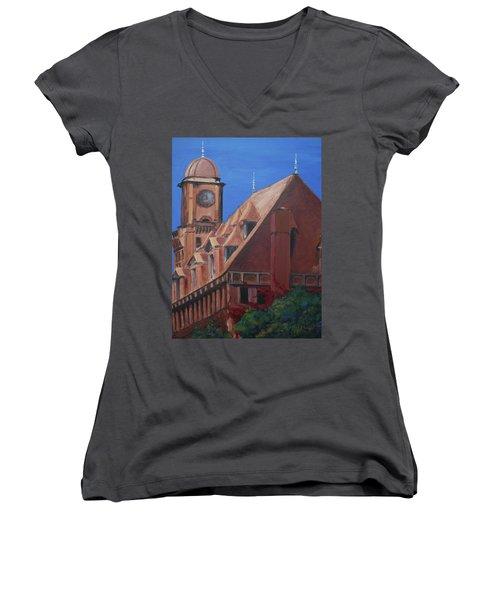 Main Street Station Women's V-Neck T-Shirt (Junior Cut) by Donna Tuten