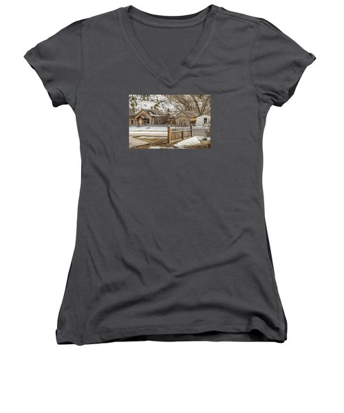 Women's V-Neck T-Shirt (Junior Cut) featuring the photograph Main Street by Sue Smith