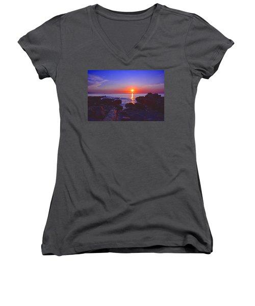 Maine Coast Sunrise Women's V-Neck