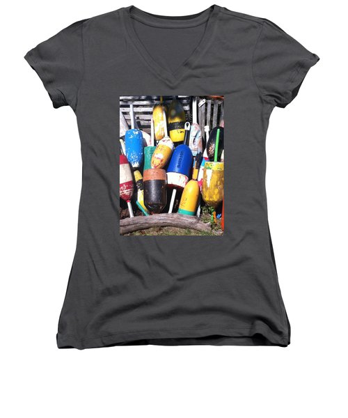 Women's V-Neck T-Shirt (Junior Cut) featuring the photograph Maine Lobster Buoys by Denyse Duhaime