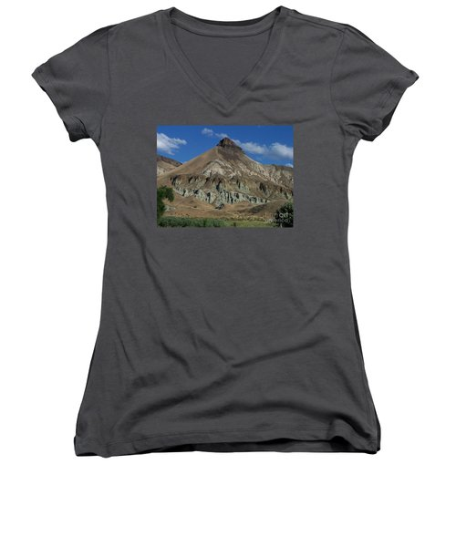 Women's V-Neck T-Shirt (Junior Cut) featuring the photograph Majestic Rimrock by Chalet Roome-Rigdon