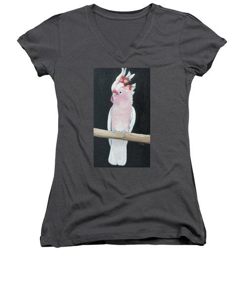 Major Mitchell Cockatoo Women's V-Neck T-Shirt (Junior Cut) by Jan Matson