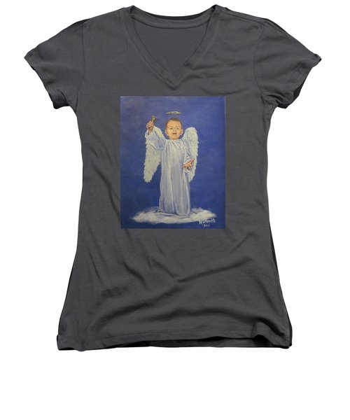 Women's V-Neck T-Shirt (Junior Cut) featuring the painting Make A Joyful Noise by Wendy Shoults