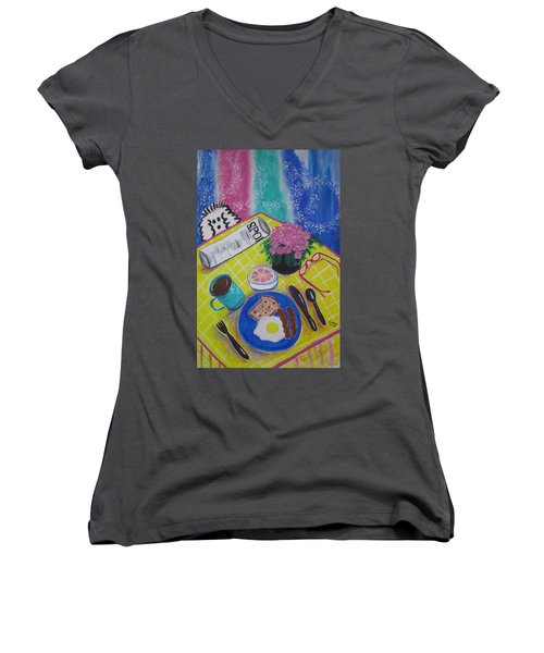 Women's V-Neck T-Shirt (Junior Cut) featuring the painting Makin' His Move by Diane Pape