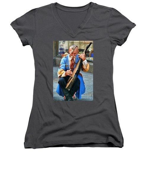 Women's V-Neck T-Shirt (Junior Cut) featuring the photograph Making A Living by Mariola Bitner