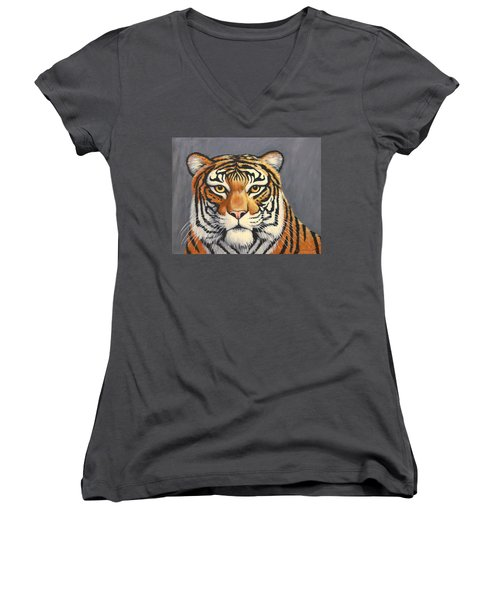 Malayan Tiger Portrait Women's V-Neck T-Shirt (Junior Cut) by Penny Birch-Williams