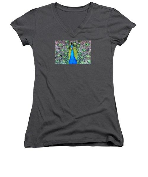 Male Peacock Women's V-Neck T-Shirt (Junior Cut)