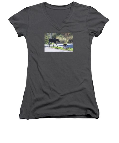 Mama And Baby Moose Women's V-Neck (Athletic Fit)