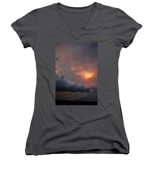 Women's V-Neck T-Shirt (Junior Cut) featuring the photograph Mammatus At Sunset by Ed Sweeney