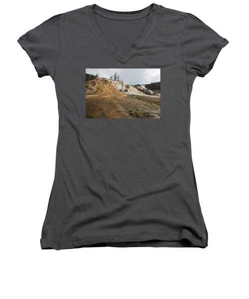 Women's V-Neck T-Shirt (Junior Cut) featuring the photograph Mammoth Hot Springs by Belinda Greb