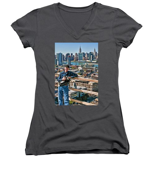 Man At Work Women's V-Neck T-Shirt (Junior Cut) by Steve Sahm