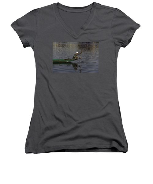 Man Plying A Wooden Boat On The Dal Lake Women's V-Neck T-Shirt (Junior Cut)