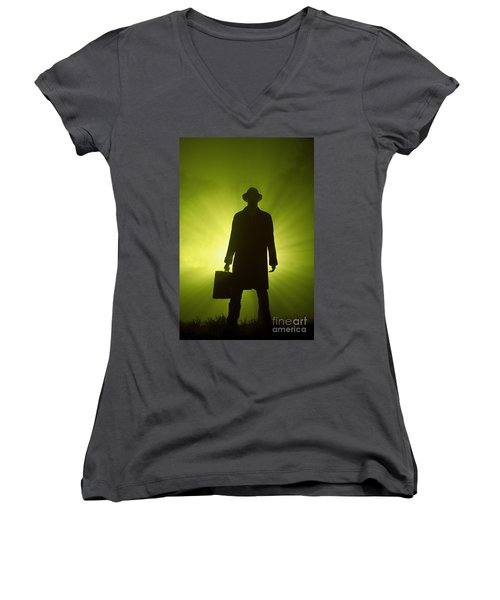 Women's V-Neck T-Shirt (Junior Cut) featuring the photograph Man With Case In Green Light by Lee Avison