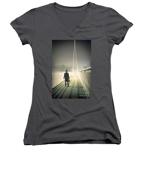 Women's V-Neck T-Shirt (Junior Cut) featuring the photograph Man With Case On Bridge by Lee Avison